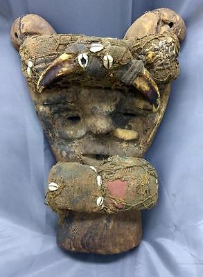 Antique Old Carved Wood Carving Tribal Ethnic Ceremonial Mask African or Oceanic