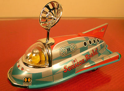 Matsudaya Mini Sonicon Rocket: 1997 Tinplate & Plastic Replica: Mint Boxed