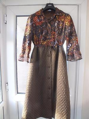 St Michael Vintage full length house coat nylon DRESSING GOWN LACY AND QUILTED