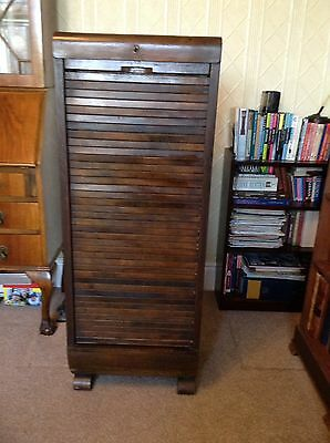 Tall Vintage 1930s Tambour Oak Fronted Filing Cabinet With Key