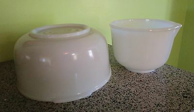 2 Glasbake White Mixing Bowls for Sunbeam #4 #18
