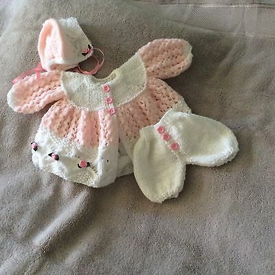 hand knitted dolls clothes suitable for 18inch doll or prem baby