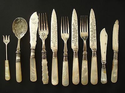 Antique vintage EPNS silver cutlery silver bolsters MOP handles carved Sheffield