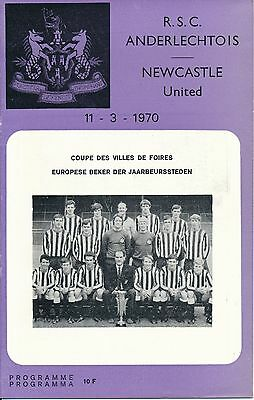 Anderlecht v Newcastle United (Fairs Cup) 1969/70