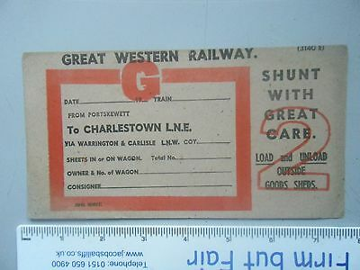 GWR Blank Wagon Label,Porkskewett to Charleston L.N.E