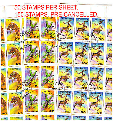 Tanzania Pre Historic Animals Of 60 Stamps Per Sheet 3 Sheets. MNH/Folded  #396