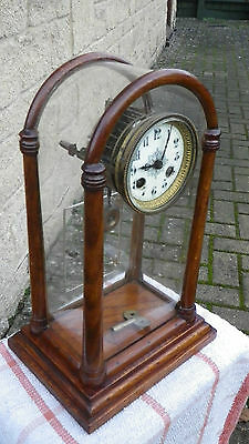 Unusual Antique Mantel Clock Suspended Movement Design Mahogany & Perspex Case