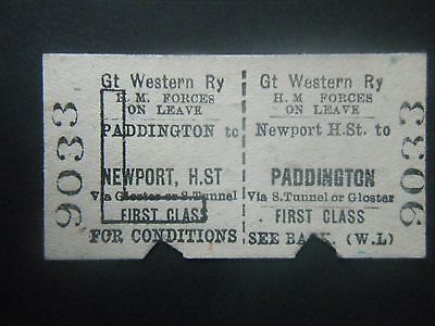 GWR Ticket Forces on Leave Return Ticket Paddington to Newport