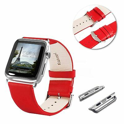 Tuff-Luv Genuine Leather Wrist Strap and Connector for Apple Watch 1 / 2 - 42mm