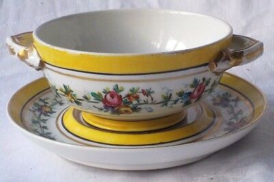 C18Th Sevres Twin Handled Soup Bowl And Stand