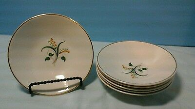 "Set Of 6 Knowles Forsythia 5-1/2"" Berry Bowls Yellow Flower Gold Trim"