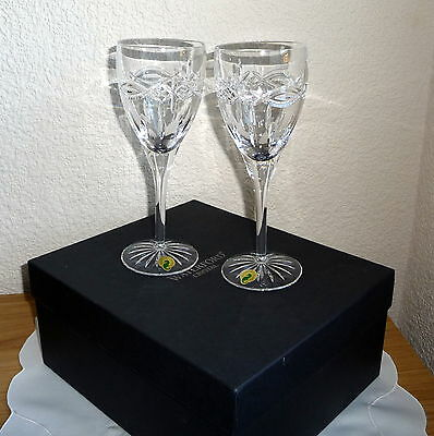Pair of Boxed Waterford Crystal Dolmen Wine Goblets / Glasses