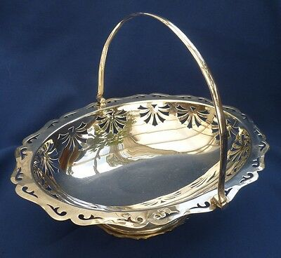 Vintage Large Silver Plate Pierced Fruit / Bread Basket ~Christmas Candy Display