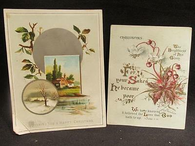 Christmas Pair of Vintage Greeting Cards Mildmay 1 John 3:16 & Holy Thoughts