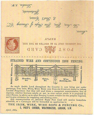 GB 1884 QV ½d+½d PICTORIAL ADVERTISING REPLY CARD IRON WIRE FENCING CO- LEYTON