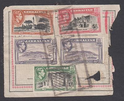 Gibraltar KGV1 issues to 5/- nice used on piece 8/7d Parcel rate.