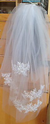 New 3T White Elbow Length  Sequin Applique  Bridal Wedding Veil With Comb
