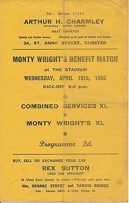 CHESTER Combined Services v Monty Wright X1 (Testimonial) 1956