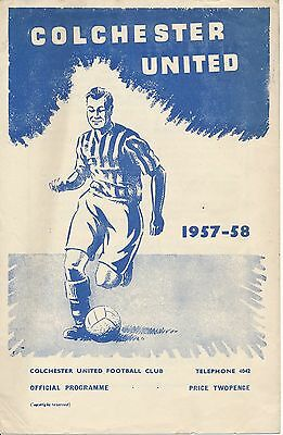Colchester v Ipswich (Dale Testimonial) 1958 4 pages