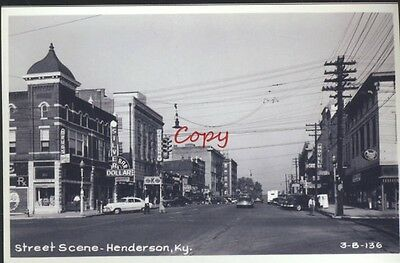 Real Photo Henderson Kentucky Downtown Street Scene Old Cars Postcard Copy