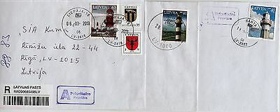 Latvia: Lighthouses Stamps On Letters 2005,2006,2009