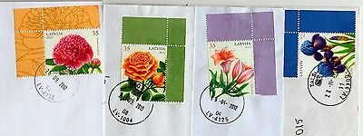 Latvia: Flowers Stamps Sheet Corners On Letters 2010-2013