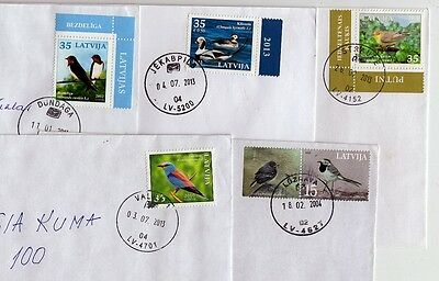 Latvia:  Birds Stamps 2003-2013  On Letters