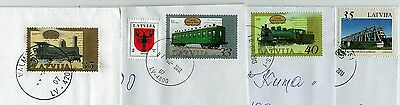 Latvia:  Railway Trains Stamps  On Letters