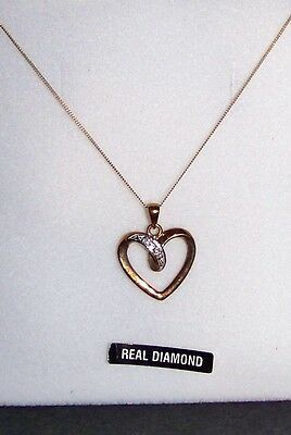 9Ct 9 Carat Yellow Gold Diamond Heart Necklace New & Boxed