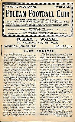 Fulham v Walsall (FA Cup) 1948/9 - Football Programme