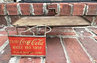 Vintage Enjoy Coca-Cola Drive-In Tray Grocery Cart 2 Bottle Advertising Holder