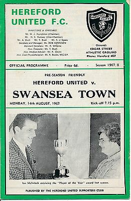 Hereford v Swansea Town (Friendly) 1967
