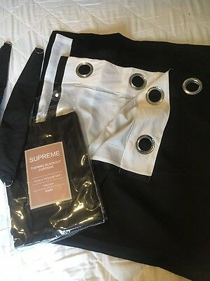 """thermal blackout curtains, Fully Lined Eyelet 46""""x54"""" Black New"""