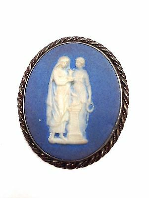 Vintage Classical Motif Blue and White Jasperware Wedgwood Oval Cameo Pin 14.2 g