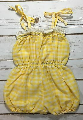 Vintage 80s Yellow White Gingham Sunsuit One-Piece Romper Baby Girl Eyelet Trim