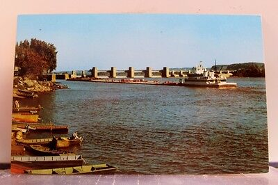 Scenic Mississippi River US Government Dam Postcard Old Vintage Card View Post