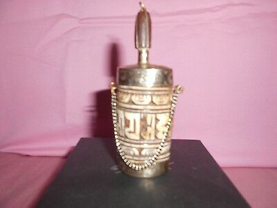 Vintage Silver ? And Bone ? Snuff/perfume/ Scented Oils Bottle