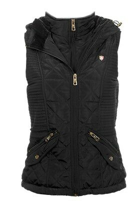 New Womens ladies black quilted hooded gilet body warmer coat size  12
