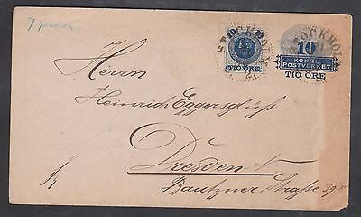1889 Sweden 10 ore + 10 ore up rated letter to Dresden / Stockholm cds.