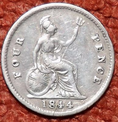 1844 Victoria Young Head .925 Silver Fourpence/Groat -- Collect / Filler Grade