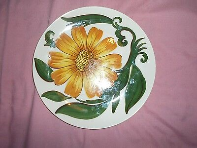 Royal Victoria Wade Pottery plate - yellow flower and leaf design.