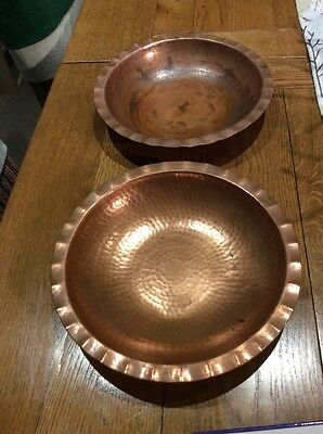 Lovely Arts & Crafts Copper Hand Beaten Bowl's By L.R.I. Barrowdale
