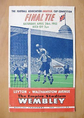 1952 FA Amateur Cup Final LEYTON v WALTHAMSTOW AVENUE VG Cond Football Programme