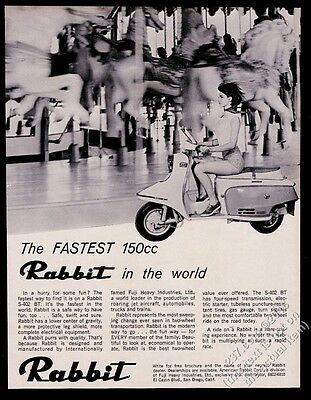1966 Rabbit scooter moped pretty woman photo vintage print ad