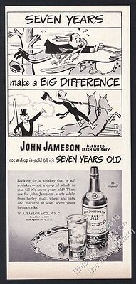 1948 John Jameson's Irish Whiskey man learning to ride a horse vintage print ad