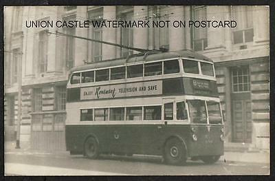Real Photo Postcard Size Portsmouth Corporation Trolley Bus Eastney Hampshire