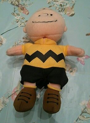 """Charlie Brown Peanuts Ty Beanie 6"""" Plush With Sounds"""