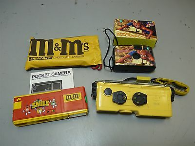 Lot 3 Branded Specialty Cameras M&M Spider Man Minolta Weathermatic A