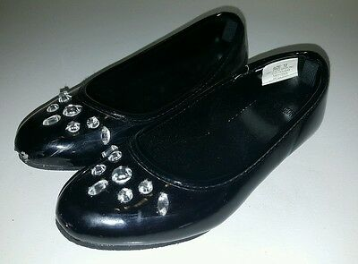 Gymboree Joyful Holiday girls black patent leather flats dress shoes sz 12 VGUC