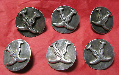 Set Of 6 Silver Buttons 2.1 Cms Diam